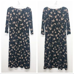 Talbots 3/4 Sleeve Long Black Floral Print Dress